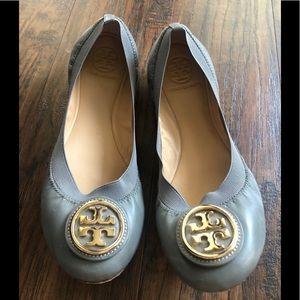 Tory Burch Caroline Flats- Grey & Gold 8.5